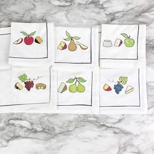 Crate & Barrel | Fruit Fromage Cheese Embroidered